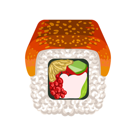 Sushi roll with smoked eel topped, traditional Japanese cuisine. Colorful cartoon illustration Illustration
