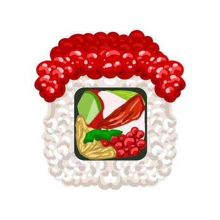 Rouleau de sushi au caviar rouge. Illustration de dessin animé coloré Banque d'images - 77975359