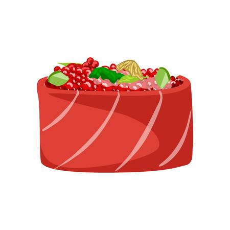 鮭魚赤キャビア、伝統的な日本料理の寿司。カラフルな漫画イラスト  イラスト・ベクター素材