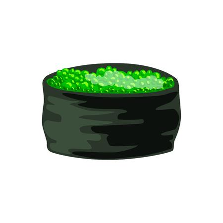 Rouleau japonais traditionnel fourré au caviar vert, Ikura Gunkan Sushi. Illustration de dessin animé coloré Banque d'images - 77975385