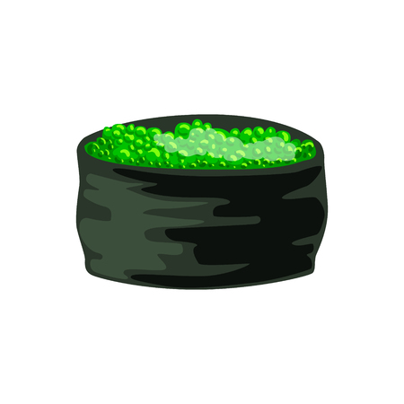 Traditional japanese roll stuffed with green caviar, Ikura Gunkan Sushi. Colorful cartoon illustration Stock Vector - 77975385
