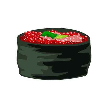 Traditional japanese roll stuffed with tobiko caviar. Colorful cartoon illustration