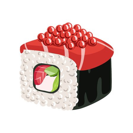 Sushi roll with salmon, vegetables, cream cheese, nori and caviar. Colorful cartoon illustration