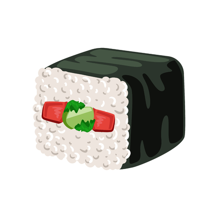 Sushi roll with vegetables inside, traditional Japanese cuisine. Colorful cartoon illustration
