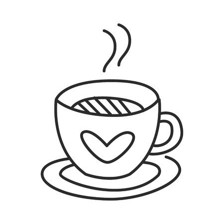 Thee of koffie beker vector doodle hand getrokken lijn illustratie