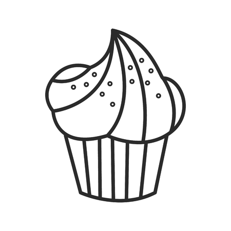 Cupcake vector doodle hand drawn line illustration