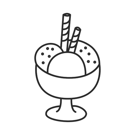 Ice cream in a bowl with wafer sticks vector doodle hand drawn line illustration Illustration