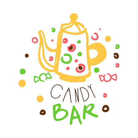 Candy bar logo. Colorful hand drawn label Ilustrace