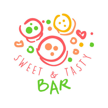 Sweet and tasty bar logo. Colorful hand drawn label Ilustrace