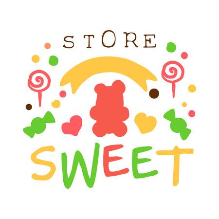 cupcake illustration: Sweet store logo. Colorful hand drawn label