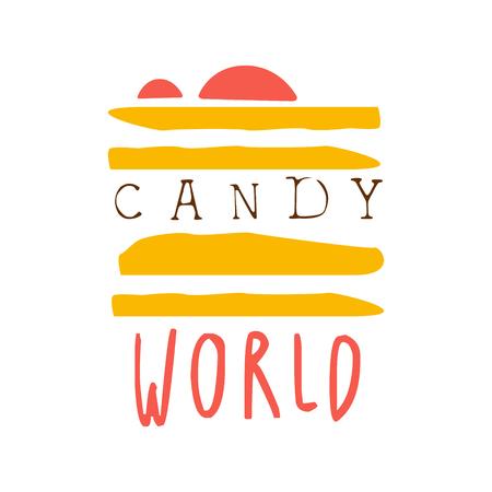 キャンディの世界ロゴ。カラフルな手描きラベル