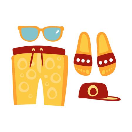 Hausschuhe, Shorts, Sonnenbrille und Mütze in roten und gelben Farben. Bunte Karikatur Illustration Standard-Bild - 77975810