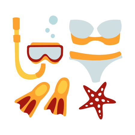 Women swimsuit and accessories for diving. Colorful cartoon Illustration Illustration