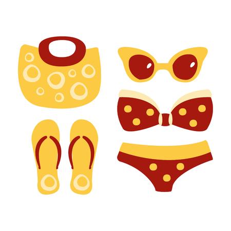 Swimsuit, glasses, bag, sandal, women beach accessories. Colorful cartoon Illustration