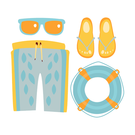 Hausschuhe, Shorts, Sonnenbrillen und Rettungsring in hellblauen Farben. Bunte Karikatur Illustration Vektorgrafik