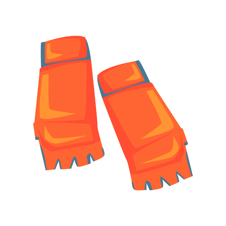Red open fingers sparring grappling gloves, martial arts gear. Colorful cartoon vector Illustration