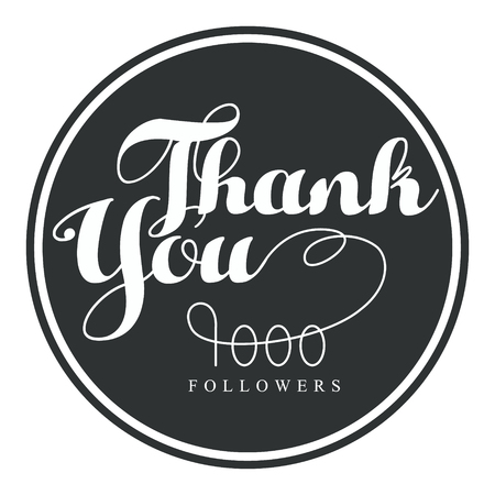 Thank you, one thousand followers round label, vector illustration. Иллюстрация