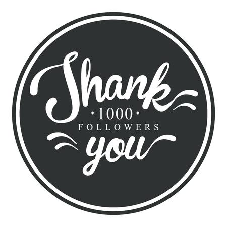 Thank you, one thousand followers round label, vector illustration Иллюстрация