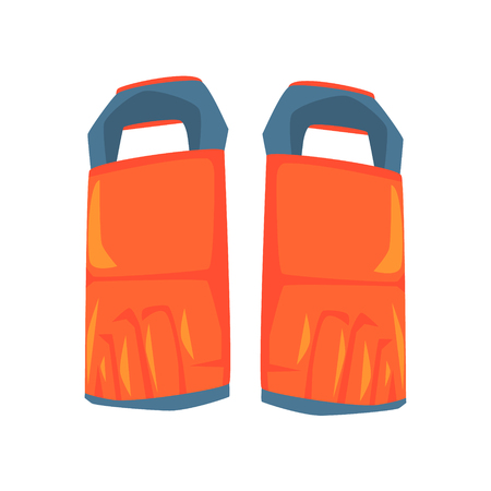 Shin guard protector, martial arts gear. Colorful cartoon vector Illustration