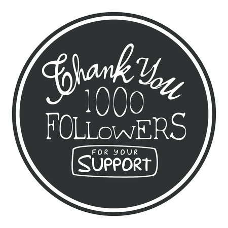 Thank you for your support round label, vector illustration