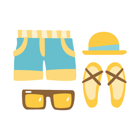 Slippers, shorts, sun glasses and straw hat . Colorful cartoon Illustration