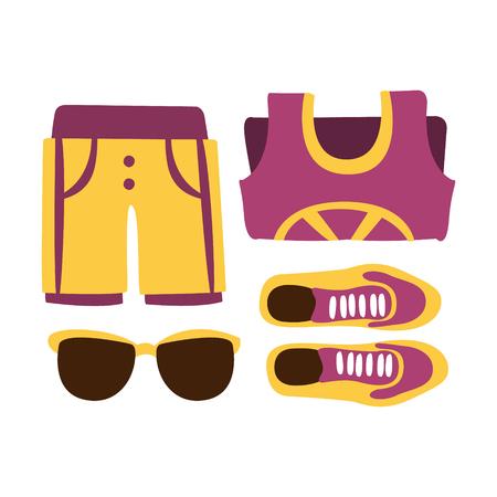 スニーカー、ショーツ、紫の色のサングラス。カラフルな漫画イラスト