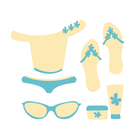 Swimsuit with beach accessories in white and blue colors. Beach vacation and sun protection. Colorful cartoon Illustration Illustration