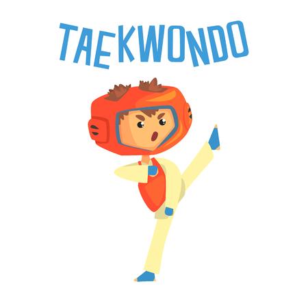 Boy fighting in taekwondo uniform. Colorful cartoon character vector Illustration