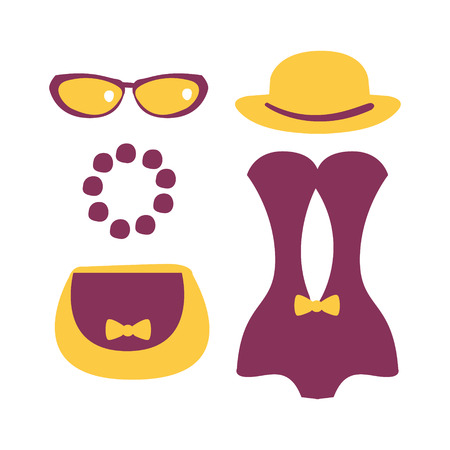 Purple swimsuit with beach accessories. Colorful cartoon Illustration