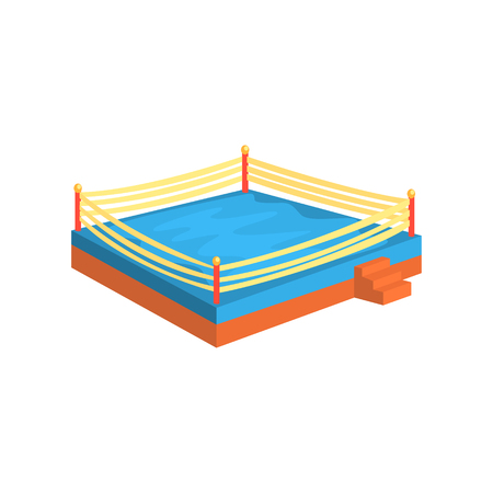 Boxing ring, sports equipment. Colorful cartoon vector Illustration