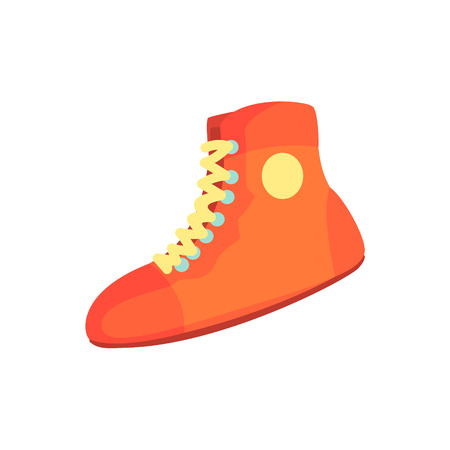 Red boxing shoes, sports equipment. Colorful cartoon vector Illustration Çizim