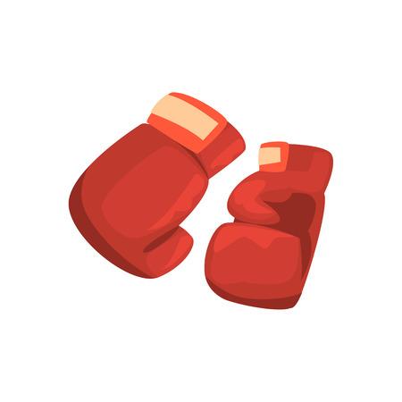 Rode bokshandschoenen, sportartikelen. Kleurrijke cartoon vector illustratie Stock Illustratie