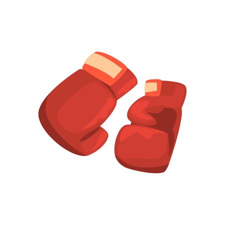 Red boxing gloves, sports equipment. Colorful cartoon vector Illustration