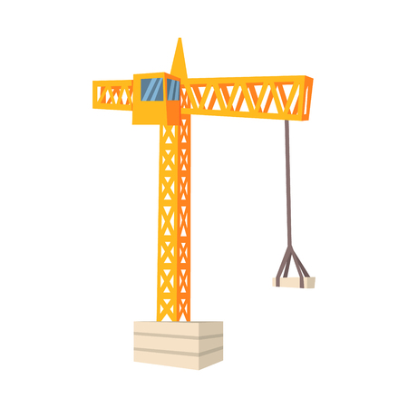 Yellow hoisting crane. Colorful cartoon vector Illustration