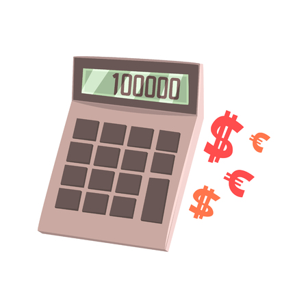 Calculator showing one hundred thousand. Colorful cartoon vector Illustration Иллюстрация