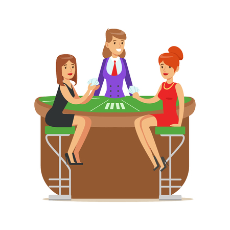 Two beatuful girls playing cards in a luxury casino. Colorful cartoon character vector Illustration Illustration