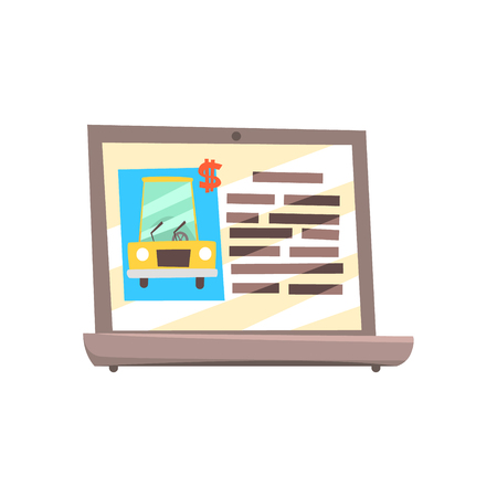 Website selling cars on the screen of laptop. Colorful cartoon vector Illustration