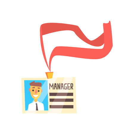 Manager id card with photo and ribbon. Colorful cartoon vector Illustration