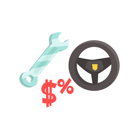 Black steering wheel and spanner. Car service maintenance. Colorful cartoon vector Illustration
