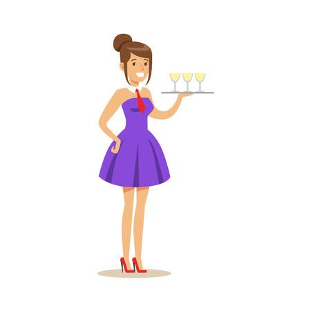 Mooie serveerster die een dienblad met verfrissende dranken houdt. Kleurrijke cartoon karakter vector illustratie