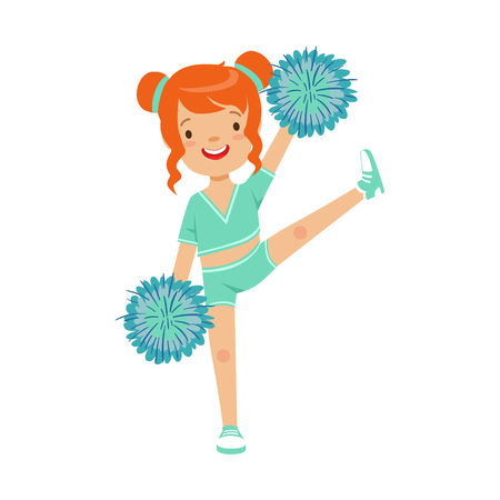 Cute little red haired girl dancing with blue pompoms. Colorful cartoon character vector Illustration