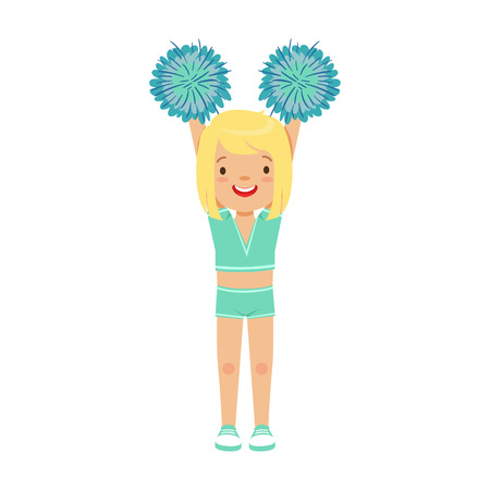 pom: Cute little blond girl dancing with blue pompoms. Colorful cartoon character vector Illustration