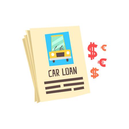 Car loan application form. Colorful cartoon vector Illustration Illustration