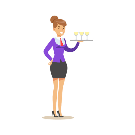 Cheerful waitress holding a tray with champagne glasses, serving drinks. Colorful cartoon character vector Illustration