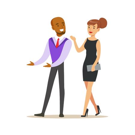 Young couple of handsome elegant man and beatuful woman in black evening dress. Colorful cartoon character vector Illustration
