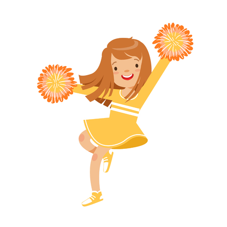 Happy little cheerleader girl dancing with yellow pompoms. Colorful cartoon character vector Illustration