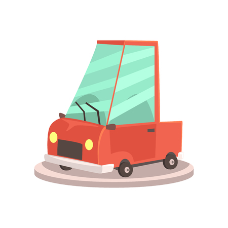 Showroom or dealership with cartoon yellow car, Colorful vector Illustration Illustration