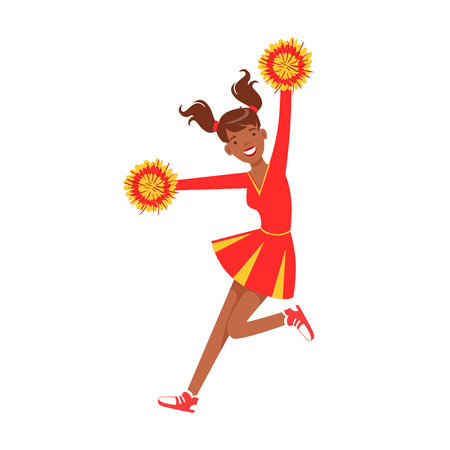 Cheerleader girl jumping with red and yellow pompoms. Colorful cartoon character vector Illustration Illustration