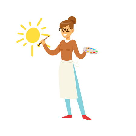 Smiling teacher holding art palette and painting sun on a white wall. Colorful character vector Illustration Ilustrace