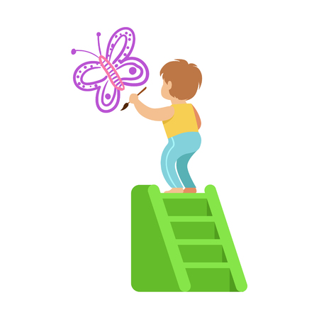 Cute little boy standing on a ladder and painting purple butterfly on a white wall. Colorful character vector Illustration 向量圖像